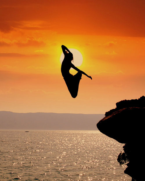 Woman Cliff Diving