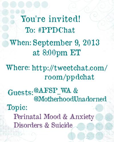 PPDChat AFSPWA and MotherhoodUnadorned Guest Announcement